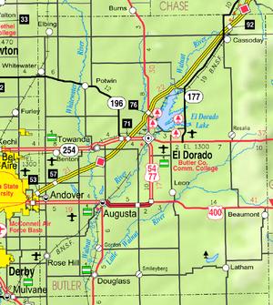 Map of Butler Co, Ks, USA