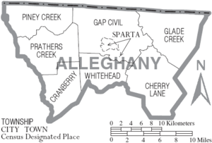 Map of Alleghany County North Carolina With Municipal and Township Labels