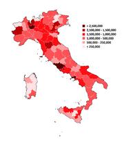 POPOLATION PROVINCES OF ITALY