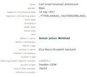 Winblad-Carl 1857 birth index