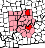 Illinois-Indiana-Kentucky Tri-State Area-Daviess Counties Highlighted