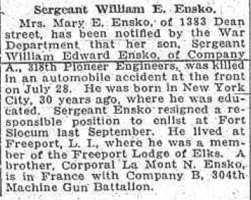 File:William Edward Ensko (1888-1918) death reported in the Brooklyn Eagle on Thursday, August 15, 1918.png