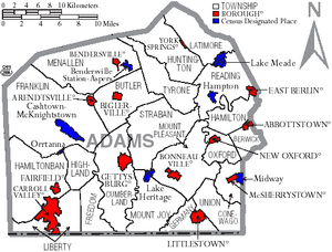 Map of Adams County Pennsylvania With Municipal and Township Labels