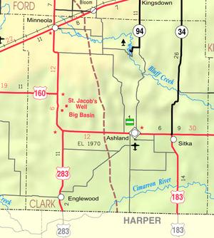 Map of Clark Co, Ks, USA