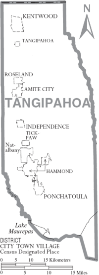 Map of Tangipahoa Parish Louisiana With Municipal Labels