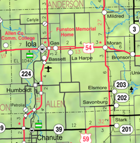 Map of Allen Co, Ks, USA