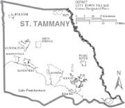 Map of St. Tammany Parish Louisiana With Municipal Labels