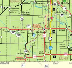 Map of Sumner Co, Ks, USA
