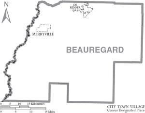 Map of Beauregard Parish Louisiana With Municipal Labels