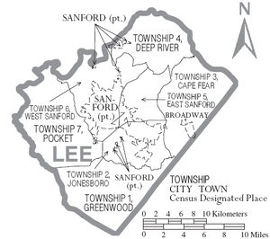 Map of Lee County North Carolina With Municipal and Township Labels
