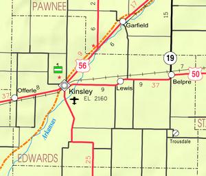 Map of Edwards Co, Ks, USA