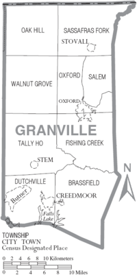 Map of Granville County North Carolina With Municipal and Township Labels