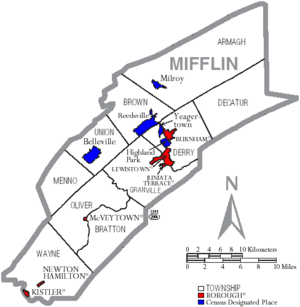 Map of Mifflin County Pennsylvania With Municipal and Township Labels
