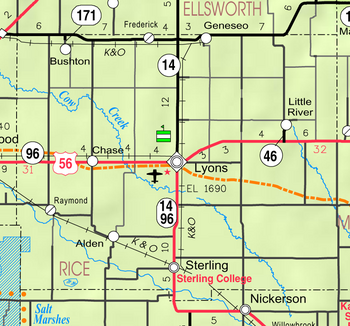 Map of Rice Co, Ks, USA