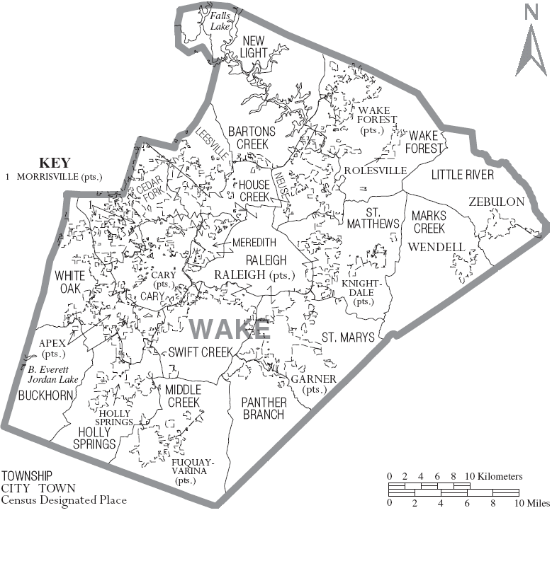 Fuquay Varina Zip Code Map.Image Map Of Wake County North Carolina With Municipal And