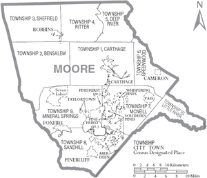 Map of Moore County North Carolina With Municipal and Township Labels