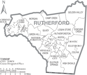 Map of Rutherford County North Carolina With Municipal and Township Labels