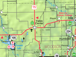 Map of Woodson Co, Ks, USA