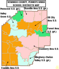 Map of Venango County Pennsylvania School Districts