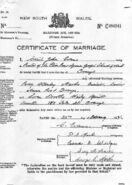 Percy Stanley Marks and Lorna Wiley Marriage Certificate