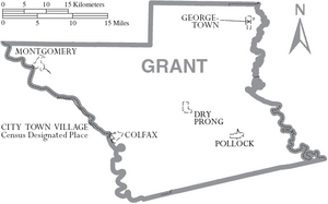 Map of Grant Parish Louisiana With Municipal Labels
