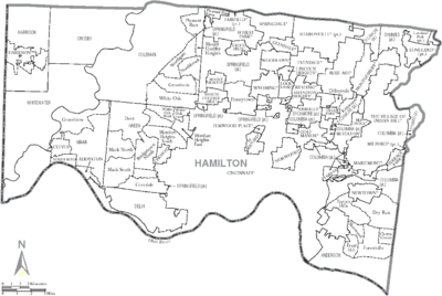 Map of Hamilton County Ohio With Municipal and Township Labels