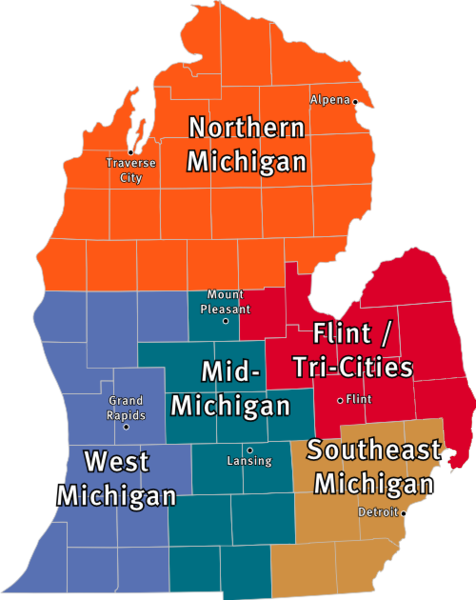Michigan map with cities on