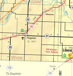 Map of Stevens Co, Ks, USA