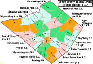 Map of Berks County Pennsylvania School Districts