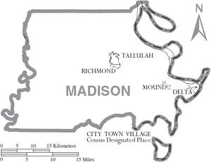 Map of Madison Parish Louisiana With Municipal Labels