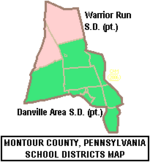 Map of Montour County Pennsylvania School Districts