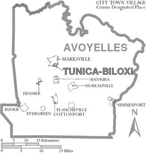Map of Avoyelles Parish Louisiana With Municipal Labels