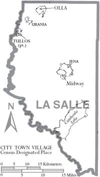 Map of La Salle Parish Louisiana With Municipal Labels