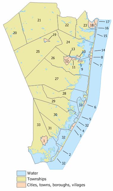 Ocean County, New Jersey Municipalities