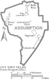 Map of Assumption Parish Louisiana With Municipal Labels