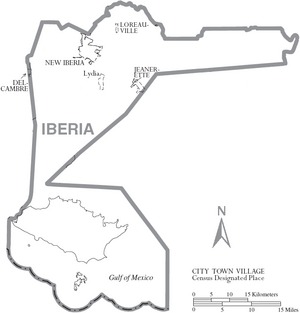 Map of Iberia Parish Louisiana With Municipal Labels