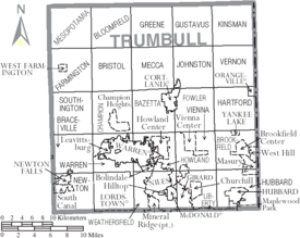 Map of Trumbull County Ohio With Municipal and Township Labels