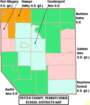 Map of Potter County Pennsylvania School Districts