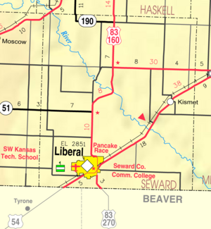 Map of Seward Co, Ks, USA