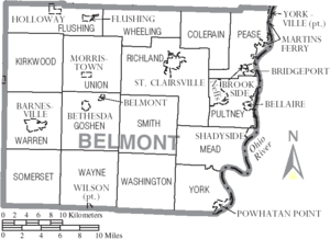 Map of Belmont County Ohio With Municipal and Township Labels