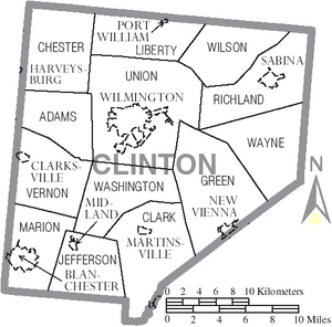 Map of Clinton County Ohio With Municipal and Township Labels