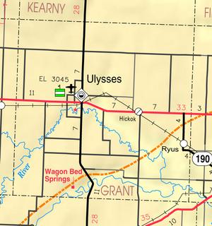 Map of Grant Co, Ks, USA