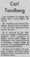 Carl Frederick Tandberg (1910-1988) obituary in The Signal of Santa Clara, California on 30 August 1988