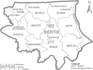 Map of Bertie County North Carolina With Municipal and Township Labels