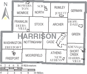 Map of Harrison County Ohio With Municipal and Township Labels