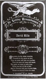 David mills memorial card