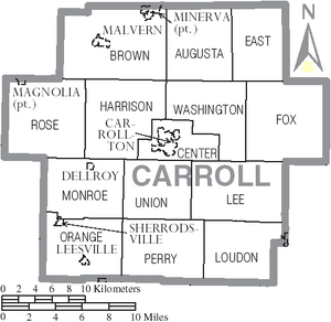 Map of Carroll County Ohio With Municipal and Township Labels