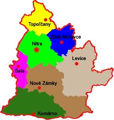 Okresy kraj Nitra Slovakia