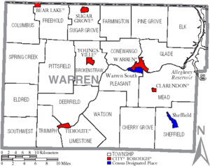 Map of Warren County Pennsylvania With Municipal and Township Labels