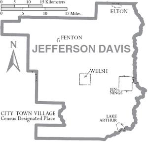 Map of Jefferson Davis Parish Louisiana With Municipal Labels